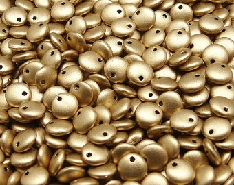50pcs Lentil Beads 6mm Czech Pressed Glass, Aztek Gold (Crystal Bronze Pale Gold) (LT025)