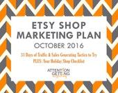 Etsy Shop Marketing Plan for October – Super Easy 31-Day Traffic Boosting Plan + Holiday Shop Checklist + Promotional Calendar