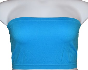 2 pcs Tube Top Strapless Bras Plus Size Seamless Bandeau Blue Free Shipping