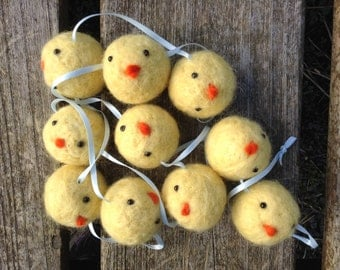 Chick Garland Needle Felted Easter decoration handmade from British Shetland wool
