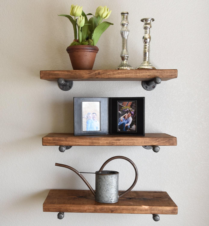 Set of 3 8 Deep Floating Pipe Shelves Industrial Wood