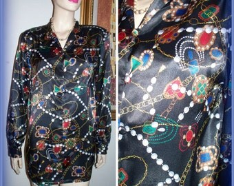 "Vintage 80's women's "" Christie & Jill designer Styled Cluster Jewelry Multicolor Button Up Blouse / Top Hong Kong sz Medium"