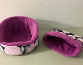Pink and Purple Floral Cuddle Cup and Sack set with Magenta fleece fabric