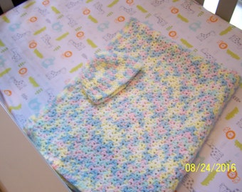 Multi-colored baby blanket and cap