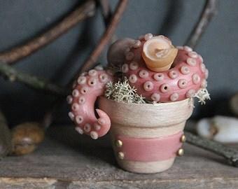 Plantacle Handmade Pink & Pearl  Planted Tentacle in Flower Pot