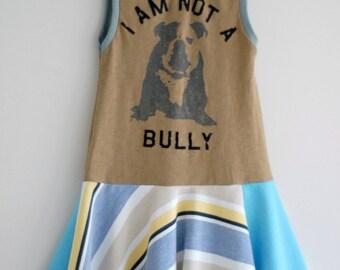 Upcycled Girls Anti-Bully dress, Back to School Dress, Twirl Dress, size 6