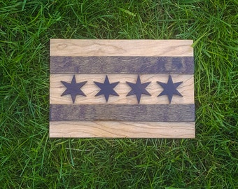 Chicago Flag Wall Art, Chicago Wooden Flag, Chicago Flag Cutout, Windy City Flag, Windy City Wall Art, Illinois Wall Decor, Chicago Pride