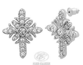 First Communion | Confirmation Gift  | Silver Rhodium Plated | Crystal Cross | Post Earrings