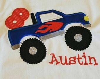 Monster truck birthday shirt.