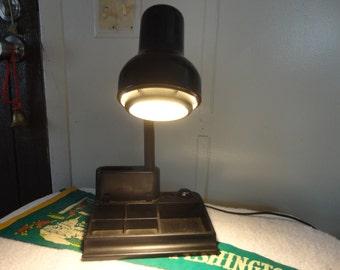 DESK STORAGE LAMP - Hard Plastic Desk Lamp with Storage - Goose Neck Lamp