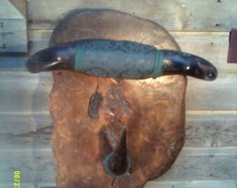 Vintage Heavy Burlwood Horn Wall Hat Rack, Western Hat Rack, Horn Hat Rack, Western Wall Decor, Southwestern Decor, Wooden Hat Racks