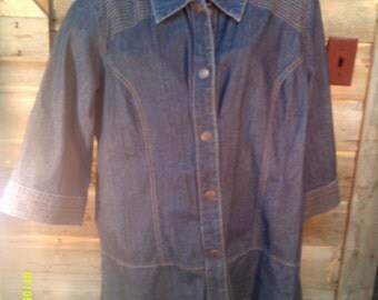 Woman's Vintage Cotton Denim Jacket, size 2X, by CJ Banks, Womens Jackets 2XL, Womens size 2Xl, Womens Cotton Jackets, Womens Blue Jacket 2X