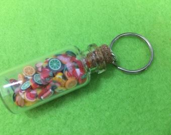 Miniature Fruit Clay Shapes Jar. Tiny, Kawaii, Cute Novelty Gift in Glass Bottle. Keyring. Free UK p&p