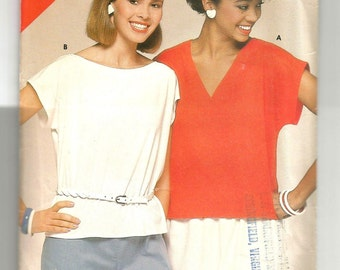 5301 See & Sew Sewing Pattern V or Oval Neckline Pullover Top UNCUT Size 14 16 18