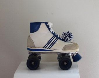 80s Rollerskates w Pom poms/ Sneaker Skates/ Blue Wheeled Tennis Shoes/ Roller Derby/ Women's Size   8 to 8 1/2