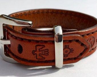Leather Cuff Bracelet - Native American Symbols  - Saddle Tan / Orange