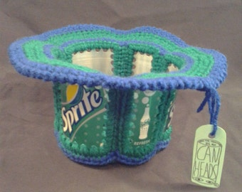 """Sprite CanHead Basket - 6 Can Panels - Blue and Green yarn - Inside dimensions are approximately 4"""" tall and 5"""" across"""