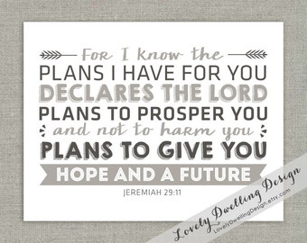For I Know the Plans I Have For You // Jeremiah 29:11 // Baby // Dedication // Baptism // Graduation // Wall Art // 8x10