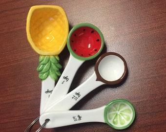 Ceramic Tropical Fruits Measuring Spoon Set