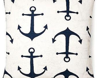 Navy Nautical Anchor Pillow Cover