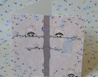 Owl birthday card / greetings card birdcage and trees design