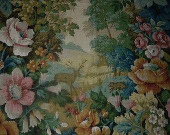 "Drapery / Curtain length - High Quality Fabric - Linen - ""Glade"" - Arthur Sanderson - England - Cottage Roses"