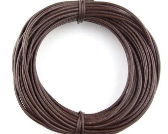 Brown Dark Round Leather Cord 1 mm 25 meters (27.34 yards)