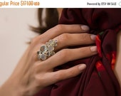 ON SALE 25% OFF Aquamarine and moon stone ring - cocktail ring - 925 sterling silver -