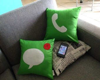 Set of 2 iPhone icon decorative pillows / cushion cases
