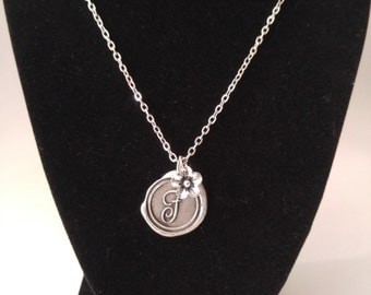 Wax Seal Monogram Necklace and Flower Charm
