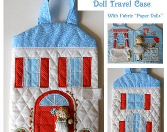 Fabric Dollhouse, Fold-Up Dollhouse, Travel Case with Fabric 'Paper' Dolls, Clothes,  Soft Toy, Quite Book, Gift, Handmade OOAK