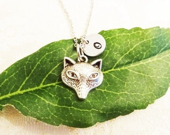 FOX NECKLACE  - personalized with initial charm - choice of chains - animal charm necklace