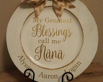 Personalized Greatest Blessings Nana Charger Plate names of grandchildren, mothers day, mother in law gift, gifts under 20, Charger Plate
