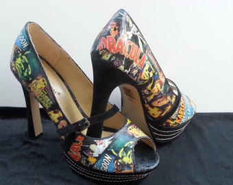 Classic Horror Heels Halloween Heels Gothic Wedding Heels Monster Heels Monster Shoes Horror Shoes Dracula Heels Bride Of Frankenstein Heels