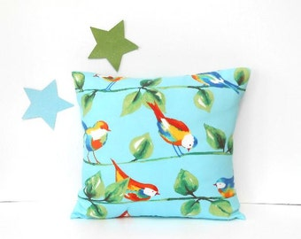 18x18 Outdoor Pillow Cover, Bird Print Indoor Outdoor Beach House Pillow, Turquoise Red Yellow Green Porch, Sunroom or Patio Summer Pillow