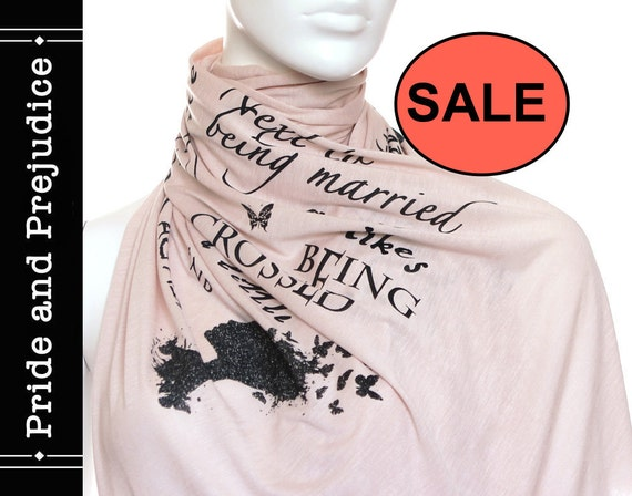 Pride and Prejudice book on the scarf - Cream - Text Scarf - Book - Jane Austen - Quotes - Infinity scarf - Gift