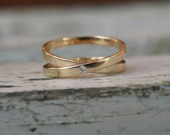 Gold infinity ring  with diamond, diamond infinity ring