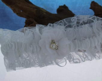 White Garter with Flower Center with Rhinestones and Pearls/ Bride/ Bridal