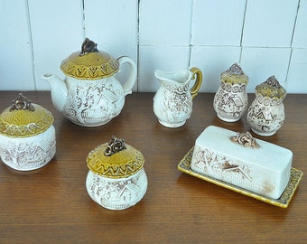 seven piece cottage house tea set made in Japan
