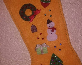 Ready to ship! No waiting! Yellow SpauldingStocking just needs a name.