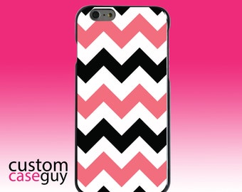 Hard Snap-On Case for Apple 5 5S SE 6 6S 7 Plus - CUSTOM Monogram - Any Colors - Black Pink Chevron Stripes