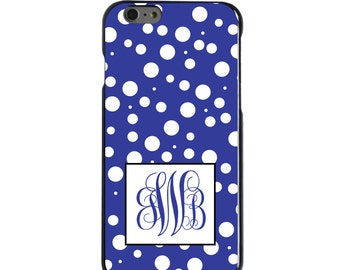 Hard Snap-On Case for Apple 5 5S SE 6 6S 7 Plus - CUSTOM Monogram - Any Colors - Blue White Dots Blue Initials