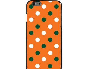 Hard Snap-On Case for Apple 5 5S SE 6 6S 7 Plus - CUSTOM Monogram - Any Colors - Miami UM Hurricanes Colors - Polka Dots Pattern