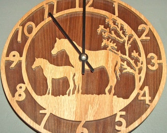 Mare and Colt Horses Decorative Clock, Rustic, Horse Art, Horse Decor, Home Decor, Southwestern Decor, Round Wall Hanging Wooden Clock