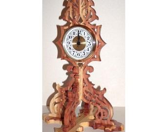 Scroll Saw Clock, Fretwork Clock, Swirls, Rustic Decor, Home Decor, Unique Desk Clock, Decorative Clock, Keepsake Gift, Whimsical Clock
