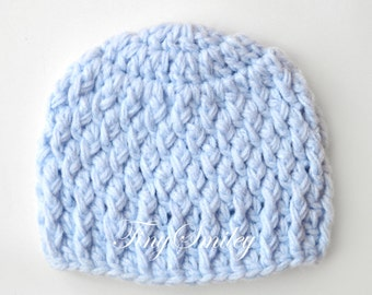 Light Blue Baby Hat, Blue Baby Boy Hat, Newborn Crochet Hat, Crochet Hats Boys, Hospital Boy Hats, Take Home Outfits, Baby Boy Chunky Hat
