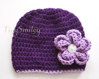Purple Baby Hat, Crochet Baby Girl Hat, Purple Baby Girl Hat with Removable Flower, Infant Girl Hats, Cute Baby Hat