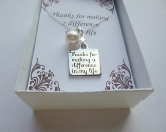 Thank You For Making a Difference in My Life Charm Necklace, Pearl and Charm Necklace, Message Charm Necklace, Message Necklace,