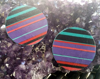Color Block Stripes- Handmade Wooden Earrings