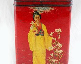 Vintage Dutch tea tin with geisha's medium size